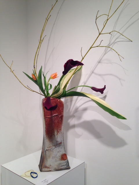 Ikebana with burgundy cana lilies, done by Lynn Forbes, Asheville, NC